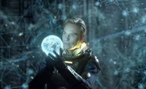 david holding the earth in the spaceship
