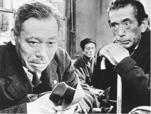 Ikiru tells the simple story of a Japanese city official, Kanji Watanabe (Takashi Shimura), and his efforts to see that a park is built in a waste-ridden empty lot.