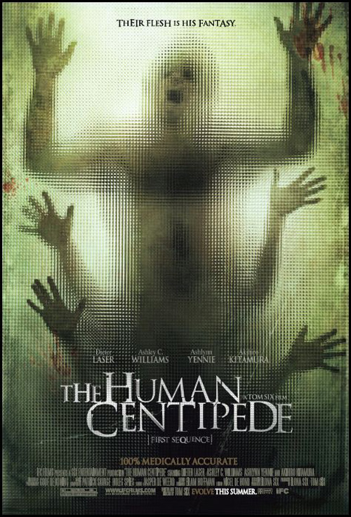 "The Human Centipede tells the story of a German doctor who kidnaps three tourists and joins them surgically, mouth to anus, forming a ""human centipede""."